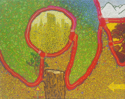 Along the Road - Love Road _ Oil, Acrylic, Mixed Media on Canvas _ 35 1_2_ x 27 7_8_ _ 2012.jpg