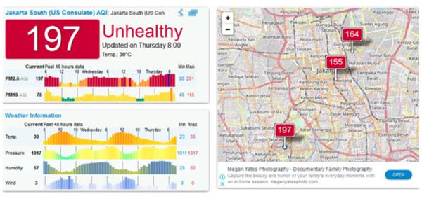 2019년 7월28일 AQI 자카르타 대기오염 지수 197로 나와 있다..png