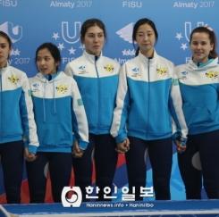 [알마티 동계U대회] 카자흐스탄 여자 쇼트트랙 선수단(오른쪽에서 두번째가 최근 카자흐스탄으로 귀화한 김영아 선수)