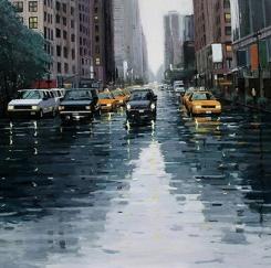 박한홍화가 '뉴욕의 비내리는 풍경' 전시 눈길